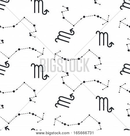 Scorpio constellation seamless vector pattern. Zodiac symbol black and white background.