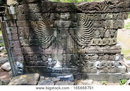 The most famous carving from the ruin of Banteay Chhmar the many-handed Avalokitswara