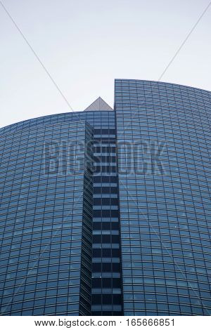 Modern Glass Facade Of An Office Building In Tokyo