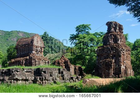 The My Son Sanctuary is a World Heritage Site in Central Vietnam containing remains of the Cham Civilisation from the 5th - 11th centuries.