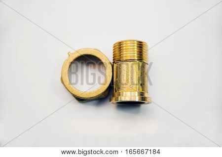 Connect brass coupling for plumbing pipes for plumbing