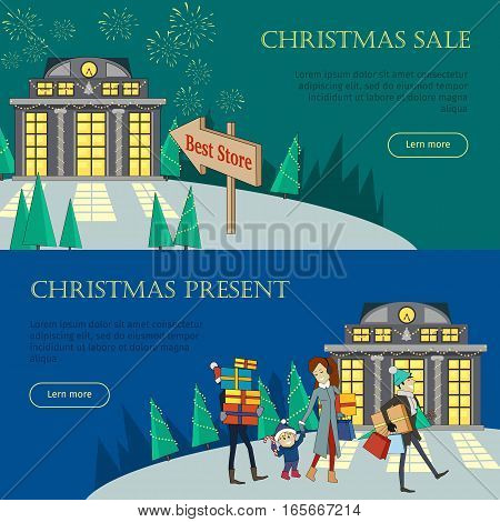 Christmas sale and christmas present web banners set. Best store. Xmas sale glowing shop. Fireworks and santa with reindeers. Special winter holiday offer promotion. Vector illustration in flat style