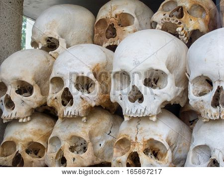 Closeup of the skulls collected and on display at Cheung Ek one of the killing fields from Cambodia's civil war