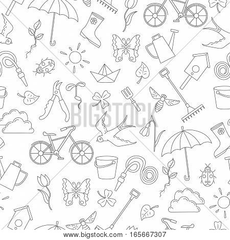 Seamless pattern with simple contour icons on the theme of spring dark outline on a white background