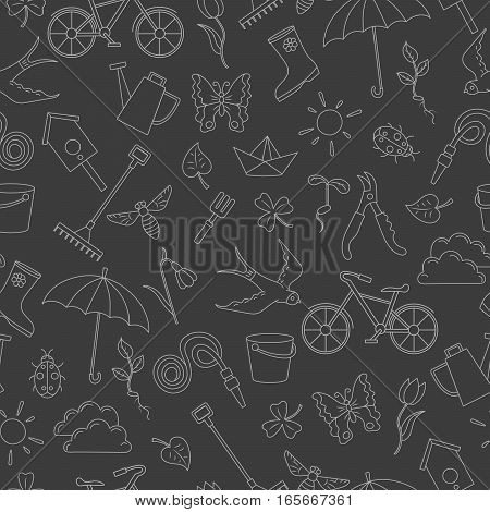 Seamless pattern with simple contour icons on the theme of spring a bright outline on a dark background