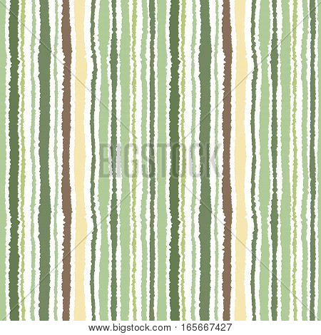 Seamless strip pattern. Vertical lines with torn paper effect. Shred edge background. Light, soft, green, gray, olive, white colors on white background. Autumn, winter theme. Vector