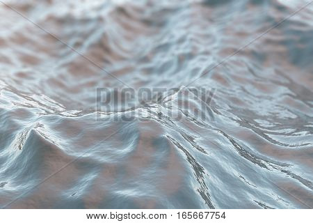 Sea wave close-up, low angle view with bokeh effects, 3d rendering
