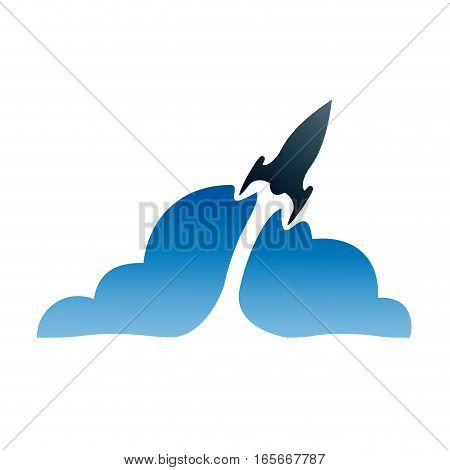 Vector sign rocket with blue smoke, isolated illustration