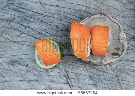Salmon sushi is delicious traditional japanese food.