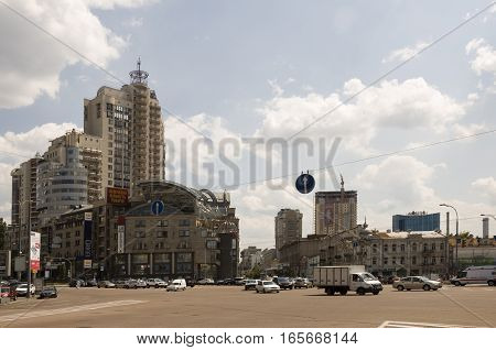 Victory Square in Kiev city, Ukraine. July 04, 2013.  Summer street with much storeyed buildings