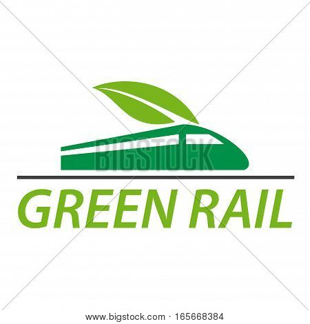 Vector sign railway and green train, isolated illustration