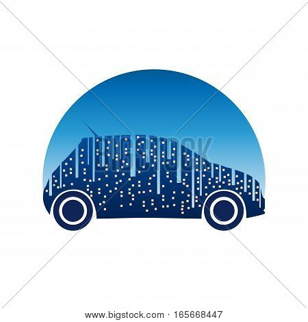 Vector sign City Car in blue, isolated illustration