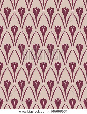 Seamless floral pattern. Crocus vintage background. Flower texture. Vinous gray contrast colored. Vector