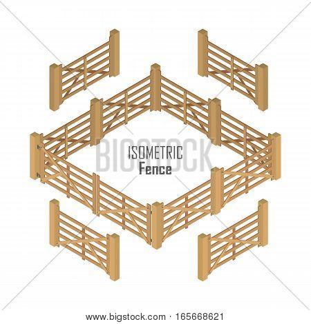 Wooden farm fence sections with gate from four sides vector illustration in isometric projection isolated on white background. For gaming environment, architecture element, app, web design