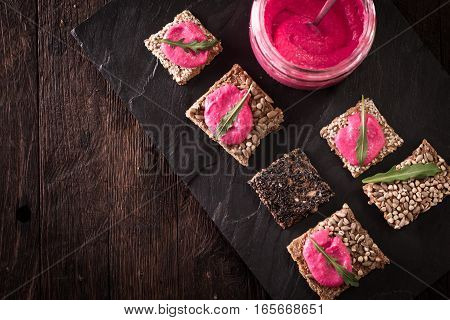 Homemade Diy Natural Vegan Very Healthy Pink Hummus Of Chickpeas And Beetroot With Seeds Snack And G