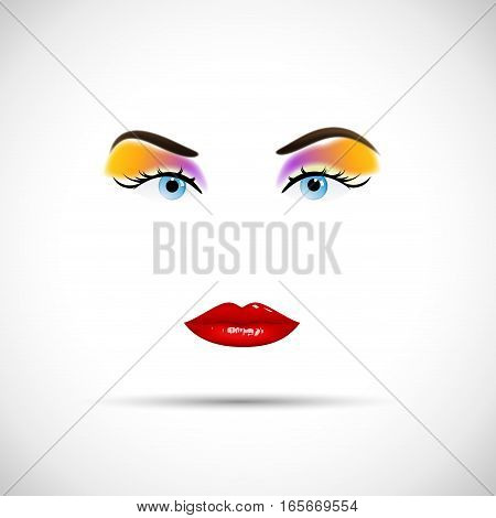 Vector woman face. makeup concept, isolated illustration