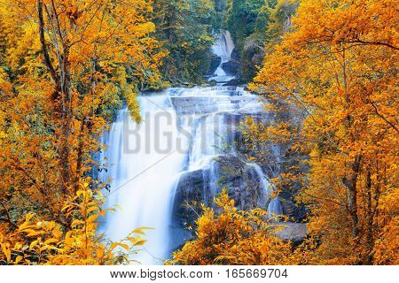 Sirithan waterfall in Doi Inthanon national park Chiang Mai Thailand One of the famous waterfalls of Chiang Mai.