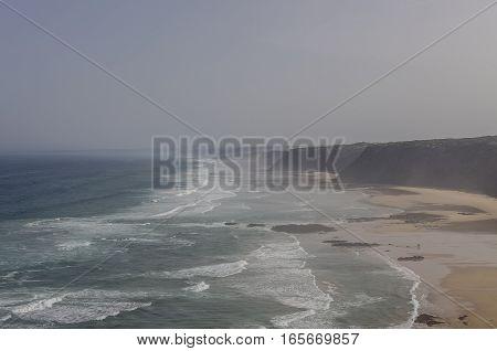 Praia Da Fateixa. Arrifana Atlantic Sea Coast In Algarve, The South Of Portugal.
