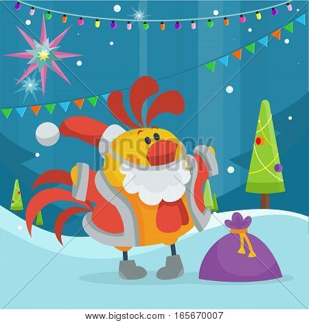 Rooster bird in Santa s cloth with bag full of presents. Cock at snow with fir trees. Chinese calendar zodiac horoscope. Chicken character collection in flat. New year xmas greeting card. Vector