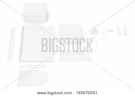 Mockup white business brand templates on white background. 3d rendering.