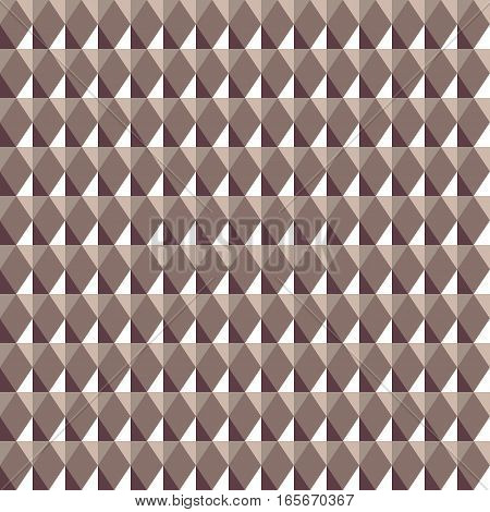 Seamless geometric rhombic pattern. Three dimensional convex shine texture with glitters, sparkles, rhombs. Brown soft colored background. Vector