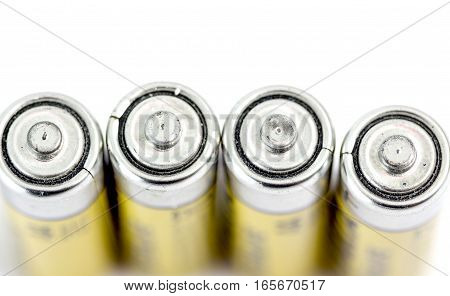 Four Alkaline Batteries Aa Size With Shallow Dof
