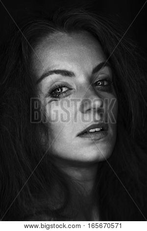 Black And White Portrait Of Crying Woman