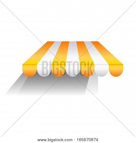 Vector sign yellow awning with shadow, isolated illustration