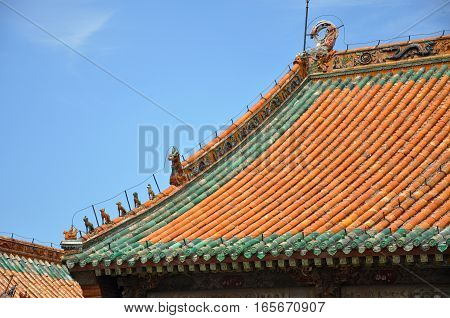 Colored glazed decoration of Chongzheng Hall in the center of Shenyang Imperial Palace (Mukden Palace), Shenyang, Liaoning, China. Shenyang Imperial Palace is UNESCO world heritage site.