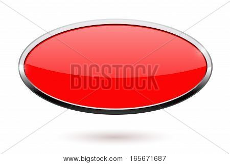 Oval red button with chrome frame. Vector illustration isolated on white background