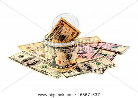 paper money American dollars in galvanized tin label a coin as a variant of saving money