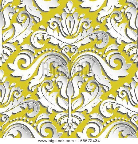 Seamless oriental golden and white ornament. Fine vector traditional oriental pattern with 3D elements, shadows and highlights