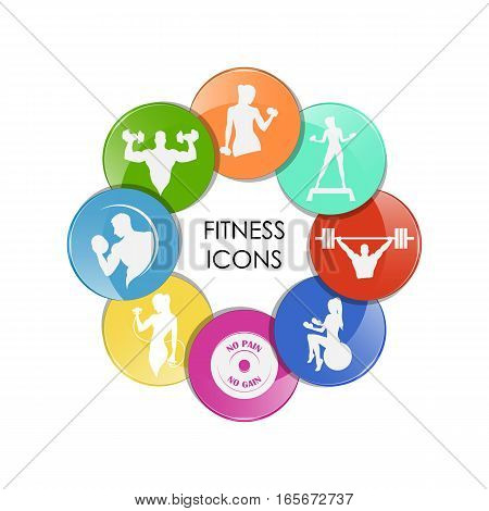 colored fitness club icons sport style vector illustration