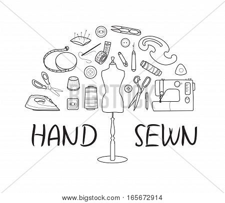 Sewing and tailoring tools, Sewing machine, needles, mannequin or dummy, Black outline vector half round concept, Hand sewn