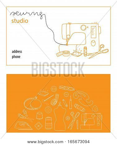 Sewing studio business card vector template, Hand sewn concept, Thin line cartoon style