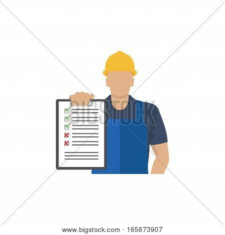 Builder with a clipboard in the hand. Vector illustration.