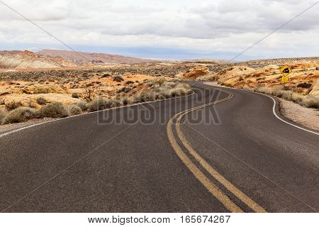 Road in Southern Nevada at Valley of Fire State Park USA
