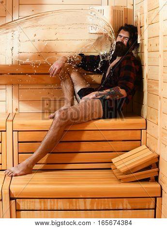 Splash Of Water On Man