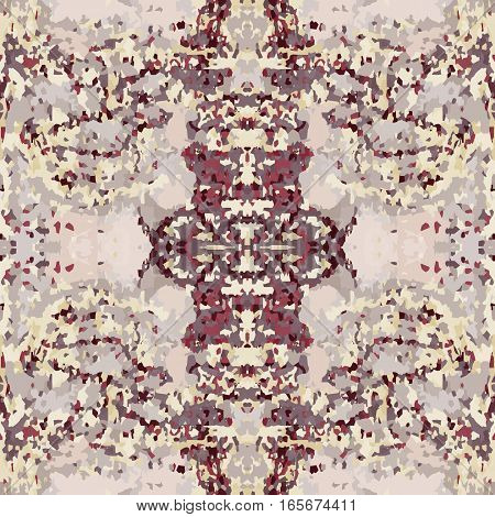Seamless nature pattern. Stone, snake skin, band view mosaic motley texture. Ornamental collage. Brown, vinous, beige colored background. Vector