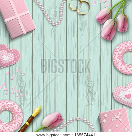 Romantic background with pink objects on blue wooden pattern, inspired by flat lay style, vector illustration, eps 10 with transparency and gradient meshes