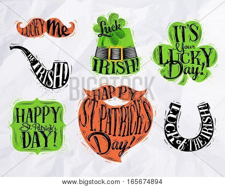 St Patrick celebration symbols mustache smoke pipe hat clover frame beard horseshoe drawing with color in vintage style on crumpled paper background