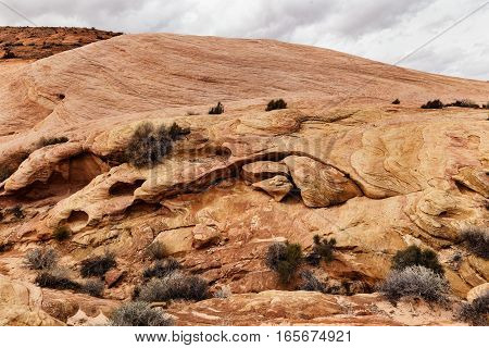 Closeup of Rock Formation at Valley of Fire State Park southern Nevada USA