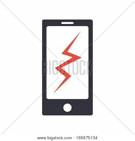 Phone broken vector icon. Smartphone sign with cracked screen. Icon isolated from background. Phone with broken glass concept. Damaged phone.