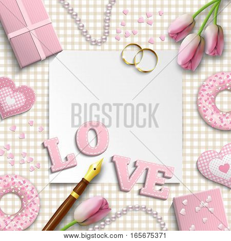 Romantic background with pink letters LOVE and other objects on traditional beige gingham pattern, inspired by flat lay style, vector illustration, eps 10 with transparency and gradient meshes