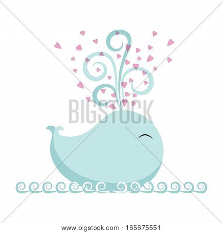 Valentines day banner with cute whale with hearts are gushing forth. Vector illustration eps 10.