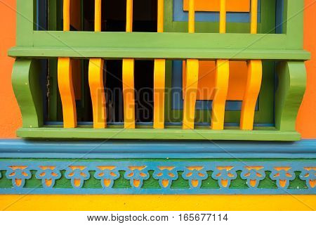 colourful colonial style window closeup details in Colombia