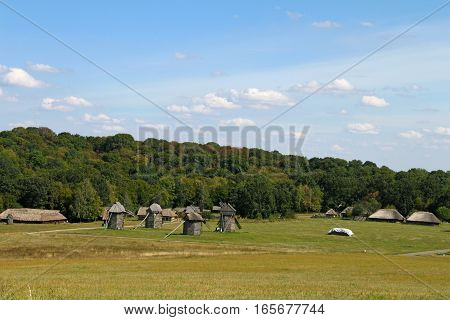 Traditional ukrainian village in the summer day