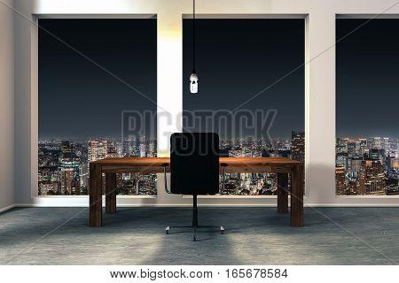 minimalistic modern office interior with illuminated night city view 3D Illustration