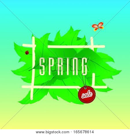 Spring Sale On Leaves With Tag Color Illustration Part Two