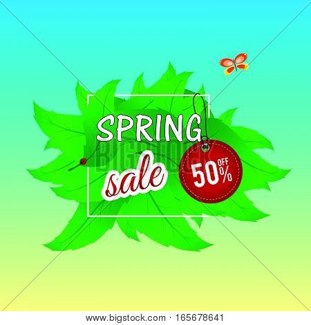 Spring Sale On Leaves With Tag Color Illustration